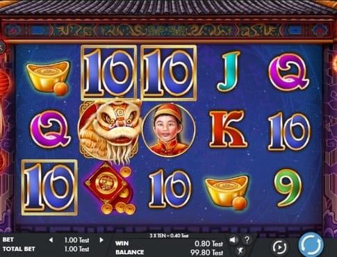 Комбинация знаков в игровом автомате Lion Dance Festival